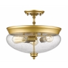 Z-Lite 3 Light Semi Flush Mount Satin Gold