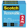 "Scotch Removable Tape 811 2PK, 3/4"" x 1296"", 1"" Core, Transparent, 2/Pack"