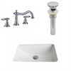 American Imaginations 20.75-in. W x 14.35-in. D CUPC Rectangle Undermount Sink Set In White With 8-in. o.c. CUPC Faucet And Drain