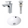 American Imaginations 16.5-in. W x 16.5-in. D CUPC Round Undermount Sink Set In White With Single Hole CUPC Faucet And Drain