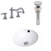 American Imaginations 16.5-in. W x 16.5-in. D CUPC Round Undermount Sink Set In White With 8-in. o.c. CUPC Faucet And Drain