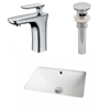 18.25-in. W x 13.5-in. D CUPC Rectangle Undermount Sink Set In White With Single Hole CUPC Faucet And Drain