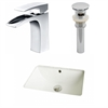 American Imaginations 18.25-in. W x 13.5-in. D CUPC Rectangle Undermount Sink Set In Biscuit With Single Hole CUPC Faucet And Drain