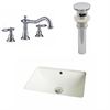 18.25-in. W x 13.5-in. D CUPC Rectangle Undermount Sink Set In Biscuit With 8-in. o.c. CUPC Faucet And Drain
