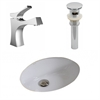 American Imaginations 19.5-in. W x 16.25-in. D CUPC Oval Undermount Sink Set In White With Single Hole CUPC Faucet And Drain