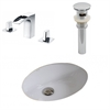 American Imaginations 19.5-in. W x 16.25-in. D CUPC Oval Undermount Sink Set In White With 8-in. o.c. CUPC Faucet And Drain
