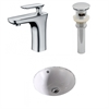 American Imaginations 15.75-in. W x 15.75-in. D CUPC Round Undermount Sink Set In White With Single Hole CUPC Faucet And Drain
