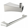 American Imaginations Chrome Plated Single Rod Towel Rack And Robe Hook Accessory Set