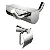 Chrome Plated Toilet Paper Holder And Double Robe Hook Accessory Set