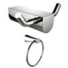 American Imaginations Chrome Plated Towel Ring And Double Robe Hook Accessory Set