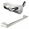 American Imaginations Chrome Plated Single Rod Towel Rack With Double Robe Hook Accessory Set