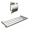 American Imaginations Multi-Rod Towel Rack With A Chrome Plated Toilet Paper Holder Accessory Set
