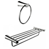 American Imaginations Chrome Plated Towel Ring With Multi-Rod Towel Rack Accessory Set