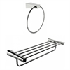 Chrome Plated Towel Ring With Multi-Rod Towel Rack Accessory Set