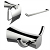 Single Rod Towel Rack, Robe Hook And Toilet Paper Holder Accessory Set