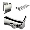 Multi-Rod Towel Rack, Robe Hook, And Toilet Paper Holder Accessory Set