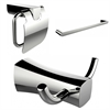 American Imaginations Robe Hook, Single Rod Towel Rack And Toilet Paper Holder Accessory Set