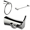 American Imaginations Chrome Plated Towel Ring, Double Robe Hook And Single Rod Towel Rack Accessory Set
