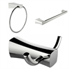Chrome Plated Towel Ring, Double Robe Hook And Single Rod Towel Rack Accessory Set