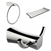 American Imaginations Chrome Plated Towel Ring, Double Robe Hook And A Multi-Rod Towel Rack Accessory Set