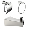 American Imaginations Chrome Plated Robe Hook With Towel Ring And Toilet Paper Holder Accessory Set
