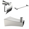 American Imaginations Chrome Plated Single Rod Towel Rack With Robe Hook And Toilet Paper Holder Accessory Set