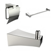 American Imaginations Single Rod Towel Rack With Robe Hook And Toilet Paper Holder Accessory Set