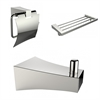 American Imaginations Chrome Plated Multi-Rod Towel Rack With Robe Hook And Toilet Paper Holder Accessory Set