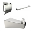 Single Rod Towel Rack With Robe Hook And Toilet Paper Holder Accessory Set