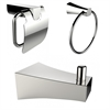 Chrome Plated Towel Ring With Robe Hook And Toilet Paper Holder Accessory Set