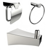 American Imaginations Chrome Plated Towel Ring With Robe Hook And Toilet Paper Holder Accessory Set