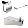 American Imaginations Chrome Plated Towel Rod With Robe Hook And Toilet Paper Holder Accessory Set