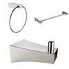American Imaginations Chrome Plated Robe Hook, Towel Ring, And A Single Rod Towel Rack Accessory Set