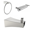 American Imaginations Multi-Rod Towel Rack With Robe Hook And Towel Ring Accessory Set
