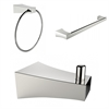 Chrome Plated Robe Hook, Towel Ring, And A Single Rod Towel Rack Accessory Set