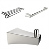 Chrome Plated Robe Hook, Multi-Rod Towel Rack, And A Single Towel Rod Accessory Set