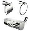 American Imaginations Chrome Plated Towel Ring And Robe Hook With Sleek Toilet Paper Holder Accessory Set