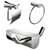 Chrome Plated Towel Ring And Robe Hook With Modern Toilet Paper Holder Accessory Set