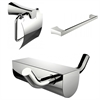 American Imaginations Single Rod Towel Rack And Robe Hook With Modern Toilet Paper Holder Accessory Set