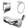 American Imaginations Chrome Plated Towel Ring And Robe Hook With Modern Toilet Paper Holder Accessory Set