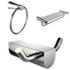 American Imaginations Chrome Plated Multi-Rod Towel Rack With Towel Ring And Robe Hook Accessory Set