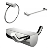 American Imaginations Chrome Plated Towel Ring With Single Rod Towel Rack And Robe Hook Accessory Set