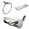 American Imaginations Chrome Plated Towel Ring With Multi-Rod Towel Rack And Robe Hook Accessory Set