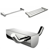 American Imaginations Chrome Plated Robe Hook With Single Towel Rod And Multi-Rod Towel Rack Accessory Set