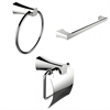 American Imaginations Modern Towel Ring, Single Rod Towel Rack And Toilet Paper Holder Accessory Set
