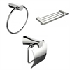 American Imaginations Chrome Towel Ring, Multi-Rod Towel Rack And Toilet Paper Holder Accessory Set