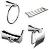 Multi-Rod Towel Rack With Towel Ring, Robe Hook And Toilet Paper Holder Accessory Set
