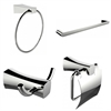 American Imaginations Single Rod Towel Rack, Robe Hook, Towel Ring And Toilet Paper Holder Accessory Set