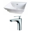 American Imaginations 19.75-in. W x 17-in. D Rectangle Vessel Set In White Color With Single Hole CUPC Faucet