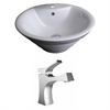 American Imaginations 19.25-in. W x 19.25-in. D Round Vessel Set In White Color With Single Hole CUPC Faucet